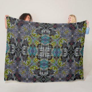 Cosmic Tribal Black Fox Spirit Black Light Art Fleece Blanket