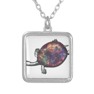Cosmic turtle 3 silver plated necklace