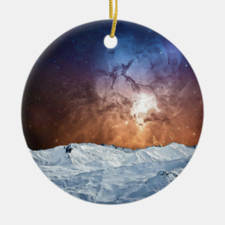 Cosmic Winter Landscape Round Ceramic Ornament