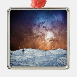 Cosmic Winter Landscape Silver-Colored Square Ornament