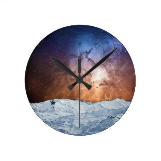 Cosmic Winter Landscape Wall Clocks