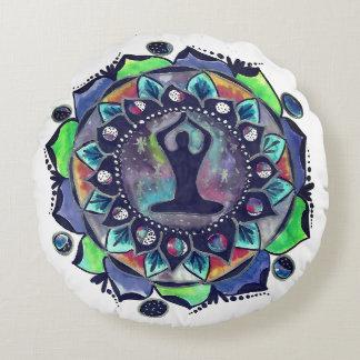 Cosmic Yoga Moon Phases Round Pillow