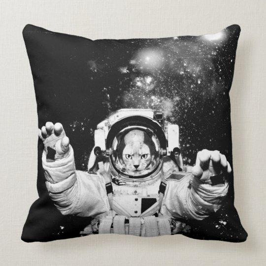 Cosmonaut Cat Throw Pillow