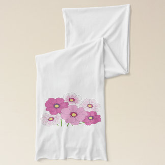 Cosmos Bouquet White Jersey Scarf