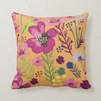 Cosmos / Flower / African Floral / Shweshwe Throw Pillow