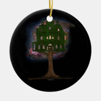 Cosmos Tree House Round Ceramic Ornament