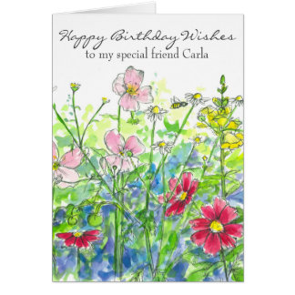 Cosmos Watercolor Flower Happy Birthday Friend Card