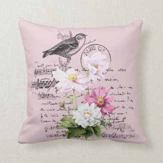 Cosmos With  Vintage Postcard  Overlay Redouté Throw Pillow