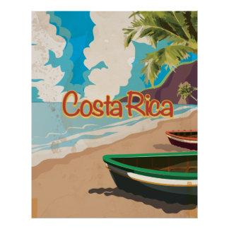 Costa Rica Beach Vintage Travel Poster