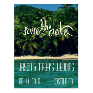 Costa Rica Beach Wedding Save The Date Postcard