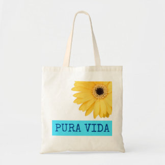 Costa Rica Blue & Yellow Pura Vida Daisy Tote Bag