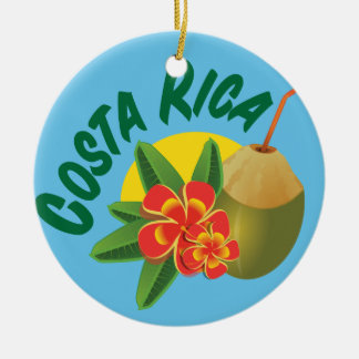 Costa Rica bright colors with hibiscus and coconut Ceramic Ornament