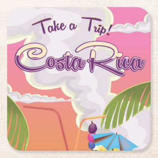 costa Rica Cartoon travel poster. Square Paper Coaster