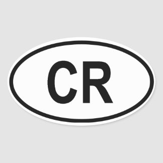 "Costa Rica ""CR"" Oval Sticker"