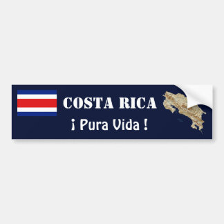 Costa Rica Flag and Map Bumper Sticker