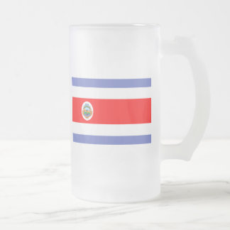 Costa Rica Flag Frosted Glass Beer Mug