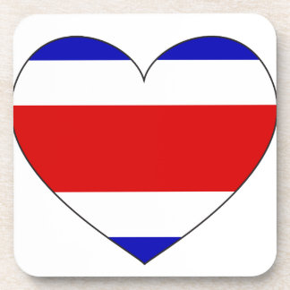 Costa Rica Flag Heart Coaster
