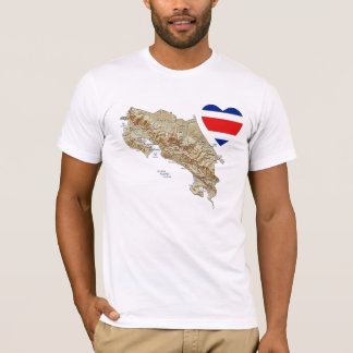 Costa Rica Flag Heart + Map T-Shirt