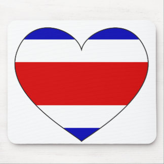 Costa Rica Flag Heart Mouse Pad