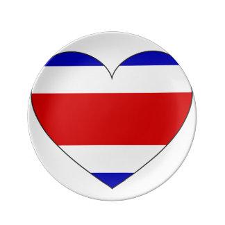 Costa Rica Flag Heart Plate