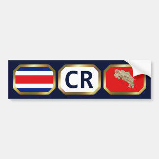 Costa Rica Flag Map Code Bumper Sticker