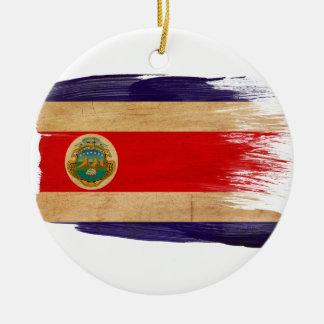 Costa Rica Flag Round Ceramic Ornament