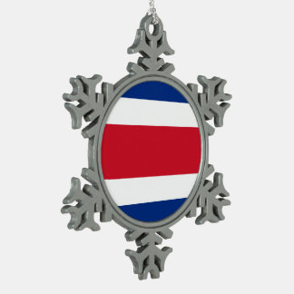 Costa Rica Flag Snowflake Pewter Christmas Ornament