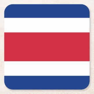 Costa Rica Flag Square Paper Coaster