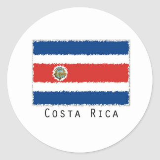 Costa Rica flag stickers- set of 20 Classic Round Sticker