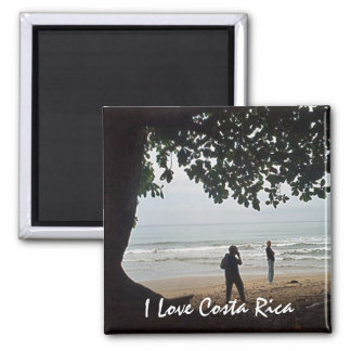 Costa Rica Love - On the Beach Beautiful Cahuita Square Magnet