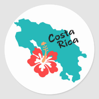 Costa Rica map with hibiscus Classic Round Sticker