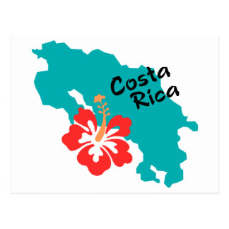 Costa Rica map with hibiscus Postcard
