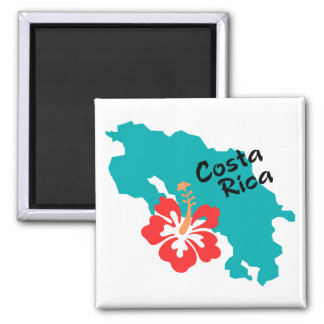 Costa Rica map with hibiscus Square Magnet