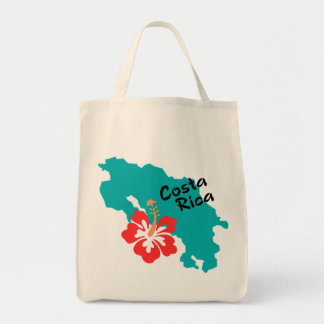 Costa Rica map with hibiscus Tote Bag