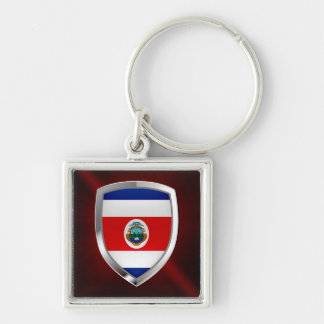 Costa Rica Mettalic Emblem Silver-Colored Square Keychain