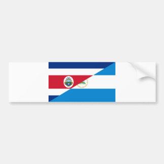costa rica nicaragua half flag symbol bumper sticker