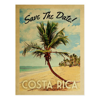 Costa Rica Save The Date Vintage Beach Palm Tree Postcard