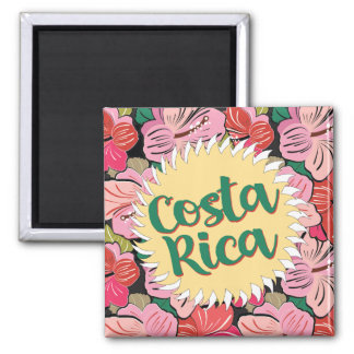 Costa Rica sun with hibiscus Magnet