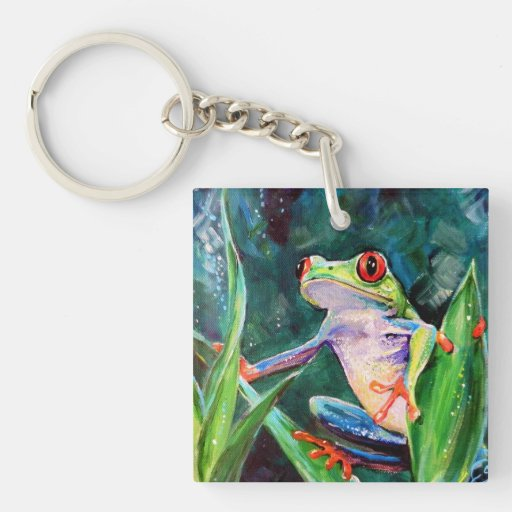 Costa Rica Tree Frog Square Acrylic Keychain