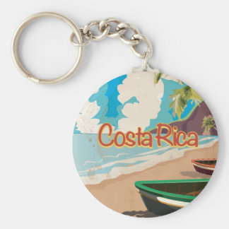 Costa Rica Vintage Travel Poster Keychain