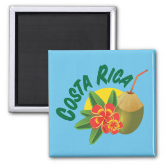 Costa Rica with hibiscus and coconut Magnet