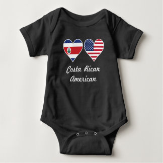 Costa Rican American Flag Hearts Baby Bodysuit