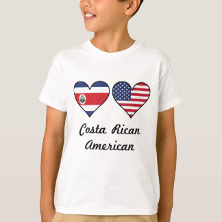 Costa Rican American Flag Hearts T-Shirt