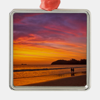 Costa Rican couple at sunset Metal Ornament