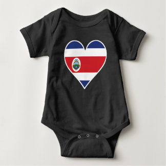 Costa Rican Flag Heart Baby Bodysuit