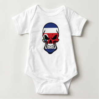 Costa Rican Flag Skull Baby Bodysuit