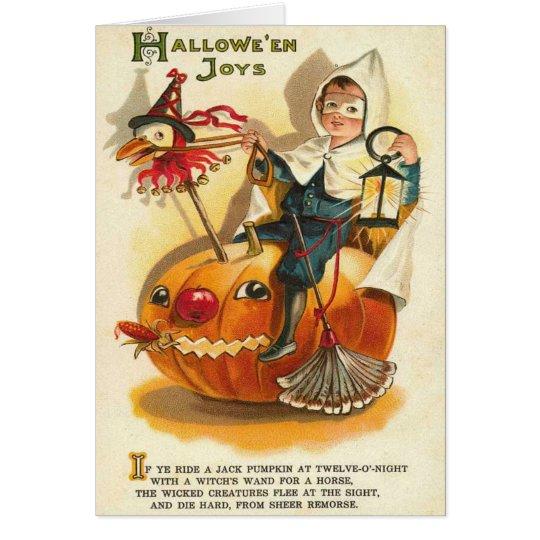 Costume Boy Jack O' Lantern Pumpkin Apple Card
