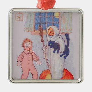Costume Boy Jack O' Lantern Pumpkin Black Cat Silver-Colored Square Ornament