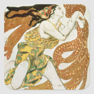 Costume design for a bacchante in 'Narcisse' Square Sticker