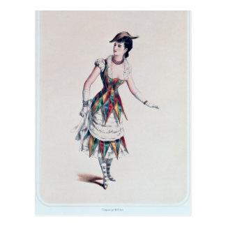 Costume design for a female harlequin, c.1880 postcard